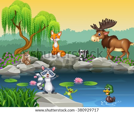 stock vector cartoon funny animal collection on the beautiful nature background 380929717 - Каталог — Фотообои «Для детской»