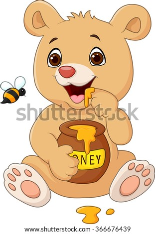 cartoon funny baby bear holding