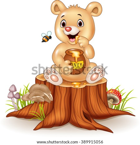 cartoon funny baby bear holding