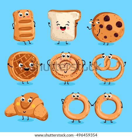 Cartoon funny bakery characters isolated vector illustration. Funny food face icon. Bakery emoji. Funny cookies, laughing bread. Cartoon emoticon face of food. Gloomy croissant, pretzel. Funny food.