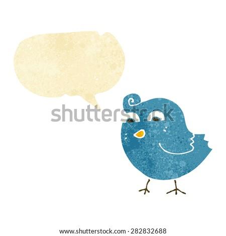 cartoon funny bird with speech