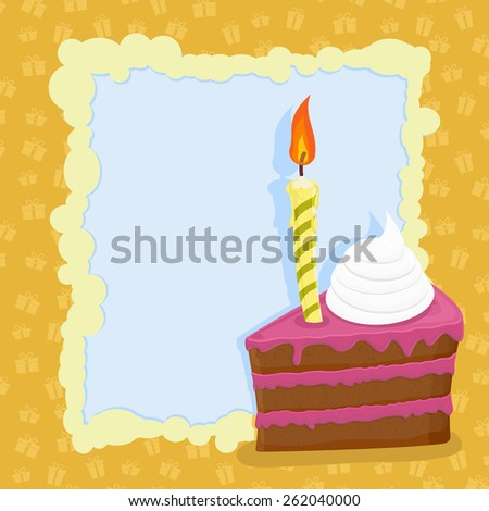 Cartoon Funny Birthday Cake. Vector Illustration. - 262040000 ...