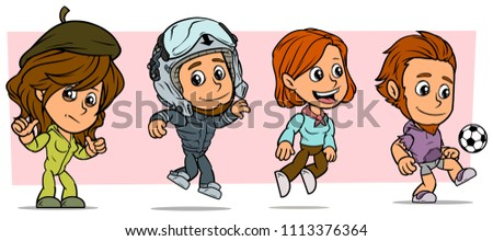 Cartoon funny boy and girl characters. Vol. 11. Pilot and Player. Vector icons set.