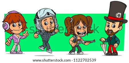 cartoon funny boy and girl