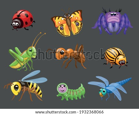 Cartoon funny bugs. caterpillar and butterfly, cute ladybug, Green grasshopper, spider children bugs, Baby insect.