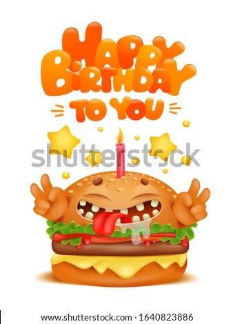 cartoon funny burger character