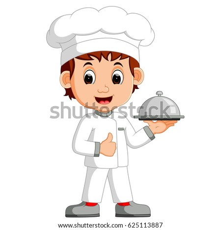 cartoon funny chef holding a