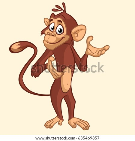 Cartoon funny chimpanzee monkey waving hand and presenting. Vector illustration on monkey mascot isolated on white