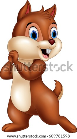 cartoon funny chipmunk isolated