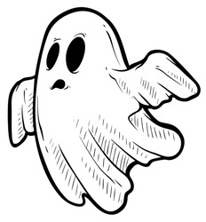 Cartoon funny crazy graphic black and white hand drawn ghost monster with spooky face. Isolated on white background. Halloween vector icon.
