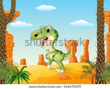 cartoon funny dinosaur with the