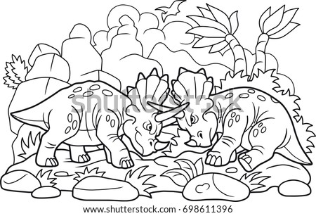 cartoon funny dinosaurs fight