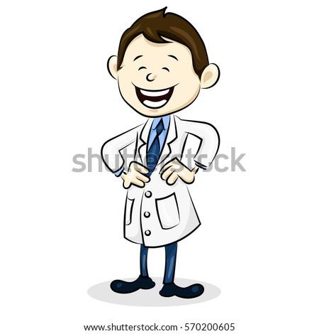 cartoon funny doctor in uniform