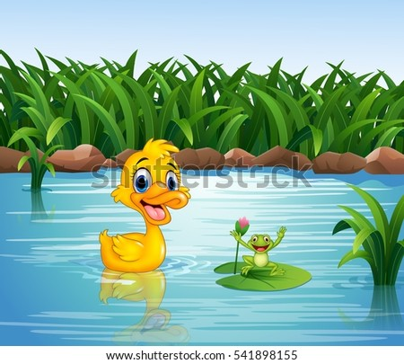 cartoon funny duck with frog