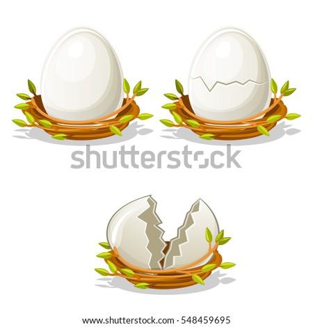 cartoon funny egg in birds nest