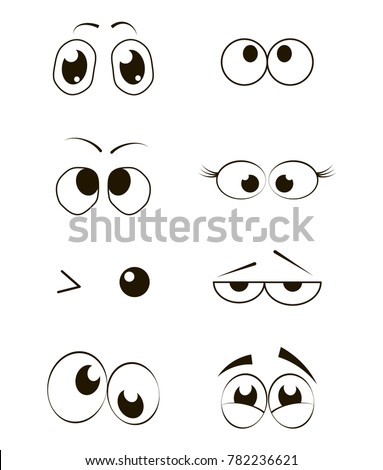 Cartoon Funny Eyes Collection. Vector illustration. #782236621
