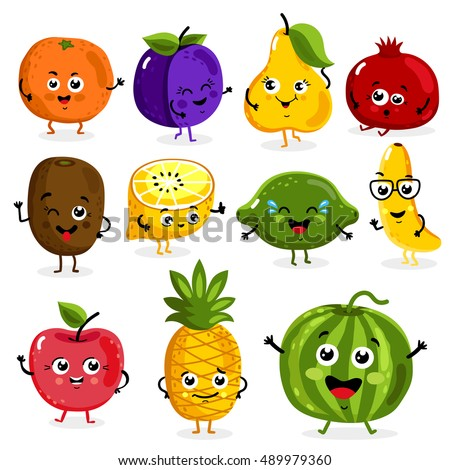 Cartoon funny fruits characters and fruits face isolated on white background vector illustration. Funny fruit face and cartoon fruit characters icon vector set. Cartoon characters. Cartoon face food. #489979360