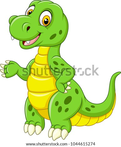 Cartoon funny green dinosaur  #1044615274