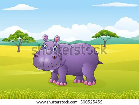 Cartoon funny hippo in the African landscape