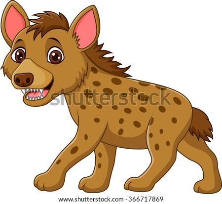 Cartoon funny hyena walking isolated on white background