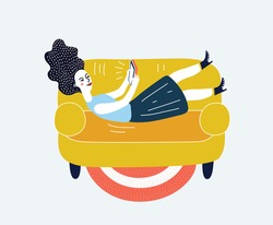 Cartoon funny illustration of girl with tablet lies down on falls on the sofa. Lying, chat, dating, education and search for information on the network. Concept design