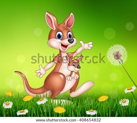 cartoon funny kangaroo carrying
