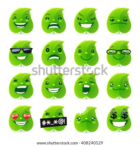 cartoon funny leaf emojis set