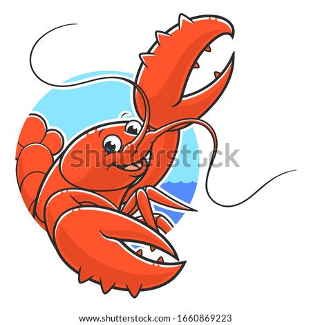 Cartoon funny lobster on the round water and sky background. ストックフォト ©