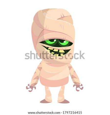 Cartoon funny mummy. Vector illustration of mummy monster for Halloween isolated Stock fotó ©