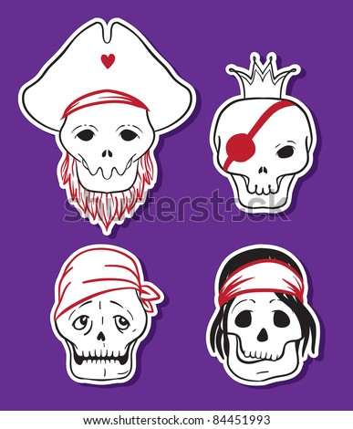 Cartoon funny pirate skull icons. Vector set.
