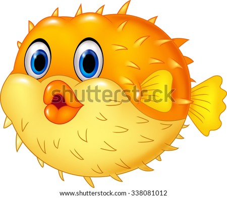 Cartoon funny puffer fish. Isolated on white background