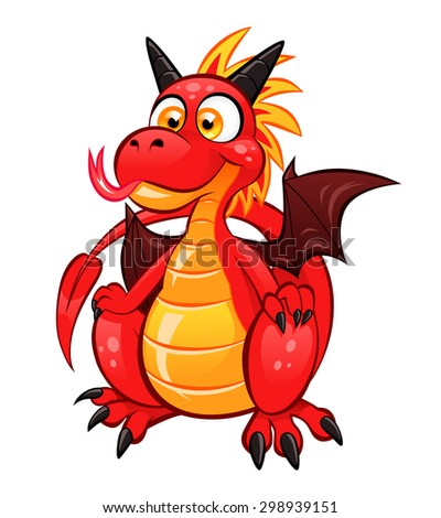 cartoon funny red dragon on the