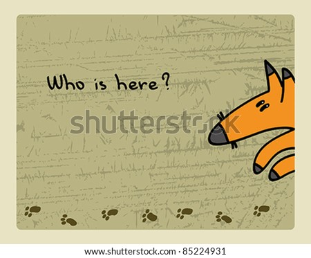 Cartoon funny red fox