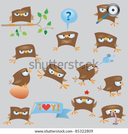 Cartoon funny sparrow birds set