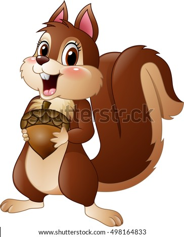 cartoon funny squirrel holding