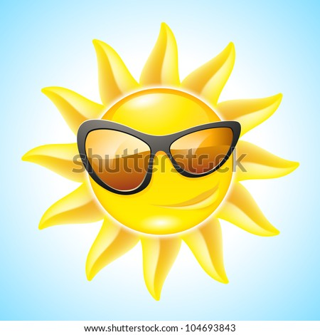 Cartoon Funny Sun with Sunglasses. See other images in my portfolio
