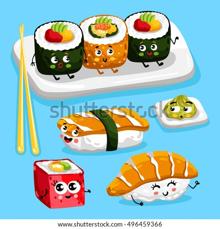 cartoon funny sushi food