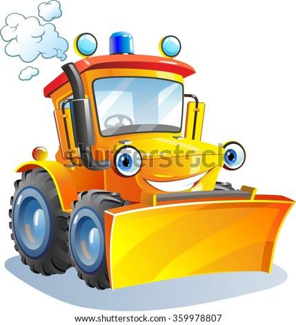 cartoon funny tractor