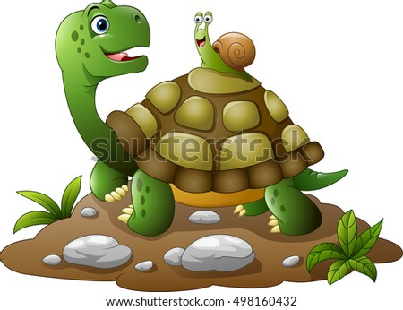 cartoon funny turtle with snail