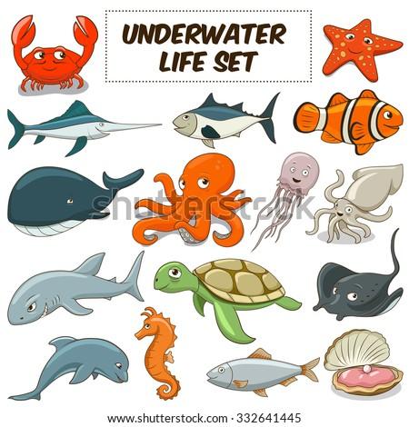 Cartoon funny underwater life animals colorful set vector illustration