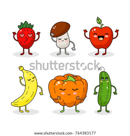 Cartoon funny vegetable and fruit characters. Happy smiling vegetable face isolated on white background. Healthy fruit doodle illustration. Happy vegetable sticker big collection.