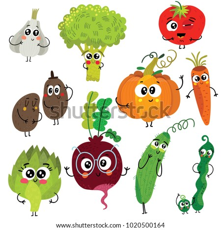 Cartoon funny vegetable characters : broccoli, tomatoes, garlic, pumpkin, potato, peas, beet, carrot, artichoke and cucumber. Cute vector illustrations isolated on white background.