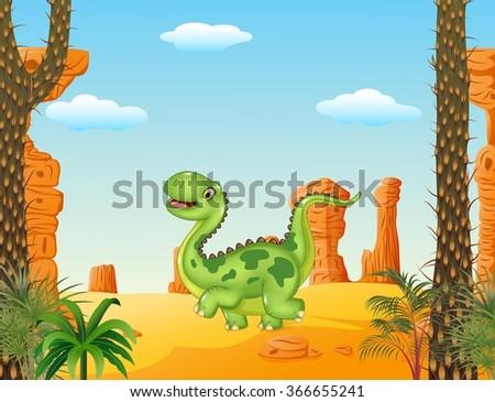 cartoon funny walking dinosaur