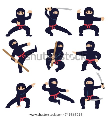 cartoon funny warriors ninja