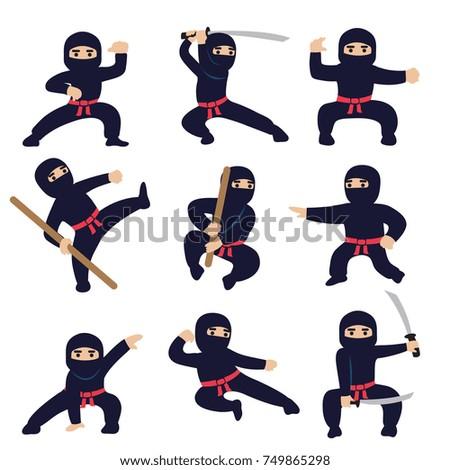 Stock Photo Cartoon funny warriors. Ninja or samurai vector characters. Ninja warrior samurai in mask with weapon sword illustration