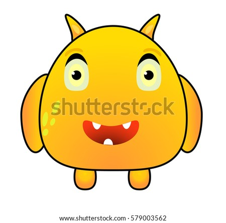 cartoon funny yellow monster