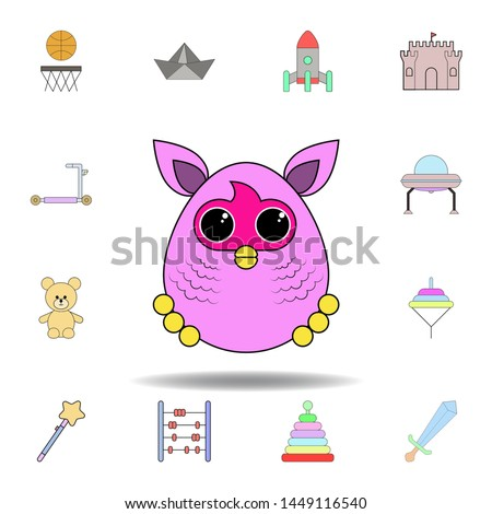 cartoon furby toy colored icon. set of children toys illustration icons. signs, symbols can be used for web, logo, mobile app, UI, UX