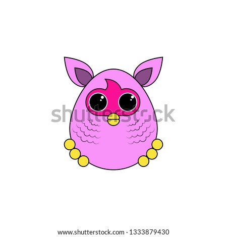 cartoon furby toy colored icon. Signs and symbols can be used for web, logo, mobile app, UI, UX