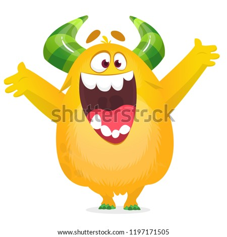 Cartoon furry monster. Halloween vector illustration of excited monster