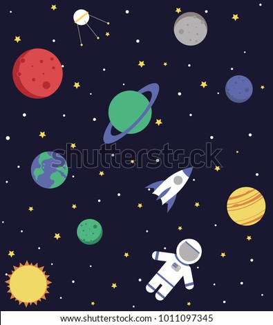 cartoon galaxy seamless pattern